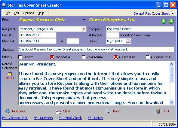 Star Fax Cover Sheet Creator