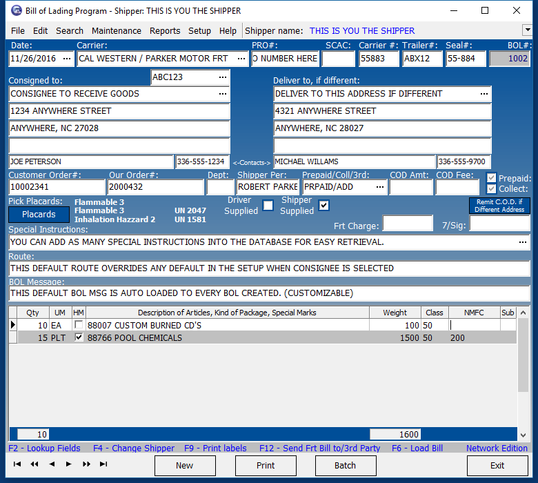 Main Screen Shot  Blank Bill Of Lading Short Form